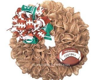 Football Wreath, Burlap Football Wreath, Small Burlap Wreath, Game Day Decor