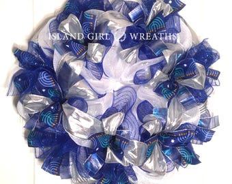 Hanukkah Wreath, Hanukkah Ribbon, Star of David Ribbon, Hanukkah Decorations, Hanukkah Wreaths, Blue And Silver Wreath