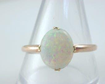 Art Deco 9ct rose gold FIREY opal ring size U 1.4g Blues, Greens, Reds! Natural