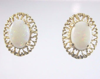 9ct Yellow Gold Opal Stud Earrings 1.3g 1979