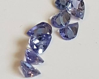 4 x 3mm Lilac Pear Faceted Ceylon Sapphire VS Parcel 5 Stones