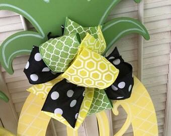 Pineapple Monogram Door Hanger Yellow Pineapple Decor Black Green Pineapple Welcome Decor Pineapple Door Hanger Monogram Wedding Gift