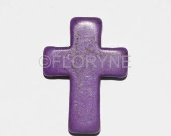 Purple Howlite stone bead cross pendant 30 x 22 x 8mm