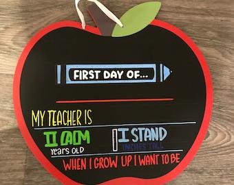 First day of school chalkboard teacher gift reusable