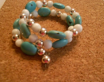 Memory wire bracelet with turqoise beads