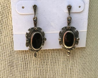 Marcasite and Black Onyx Post Dangle Earrings