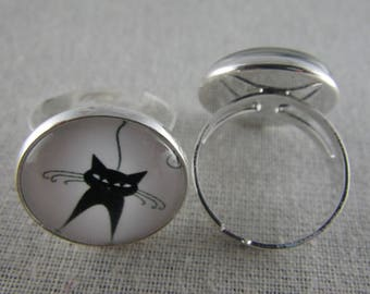 Bague057 - Silver, black and white cat ring