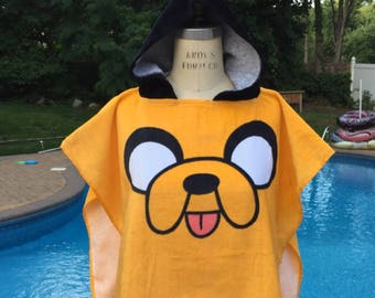 Adventure Time 'Jake the Dog' Hooded Poncho Bath Beach Pool Towel - Personalized
