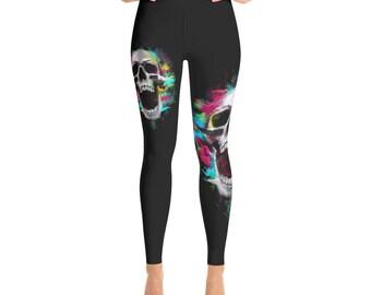 Black Art Skull Yoga Leggings Capri Yoga Pants, Sport Stretch Leggings, Fitness Workout Yoga Pants JoggersHigh Waist Yoga ShortsYoga Shorts