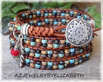 Beaded Wrap Bracelet/ Men's Seed Bead Leather Wrap Bracelet/ Southwestern Bracelet Hand Crafted With Leather And Seed Bead/Seed Bead Jewelry
