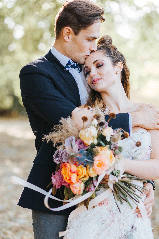 Bohemian bridal couple