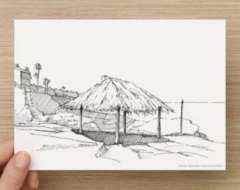 Ink Sketch of Wind And Sea Beach in La Jolla, California - Drawing, Art, Coast, Rocks, Ocean, Surf, Waves, Pen and Ink, 5x7, 8x10, Print