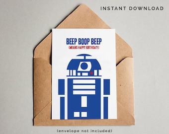 Star Wars Birthday Card, R2D2 Birthday Card, Star Wars Card, R2D2 Card, Star Wars Printables, Love You Birthday Card, Instant Download