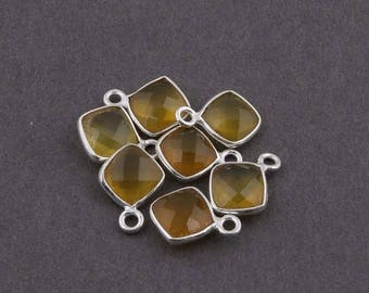 CIJ SALE 7 Pcs Yellow Chalcedony 925 Sterling Silver Faceted Cushion Single Bail Pendant - 12mmx8mm SS650