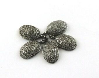 VALENTINE DAY SALE Bulk Wholesale 5 Pcs Pave Diamond Oval Charm  925 Sterling Silver Pendant - 20mmx11mm Pdc053
