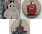 Three Racing diffuser necklaces and a Baymax diffuser necklace