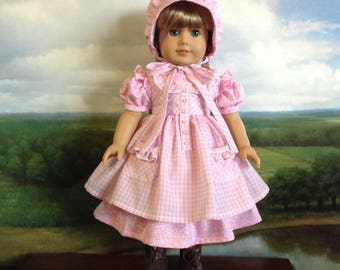 American Girl Pink Prairie Dress Pinafore and Bonnet