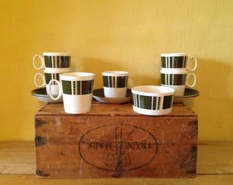 Vintage retro 1950's look spotty stripe 1960's designed patterned dark green & white matching cups saucers milk jug sugar bowl tea set.