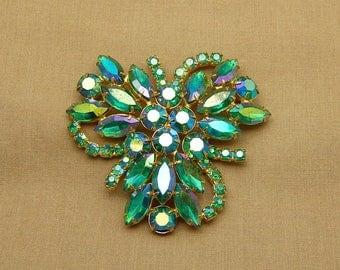 Huge Green Aurora Borealis Pin, Green Rhinestone Pin, Green AB Pin, Vintage Green AB Brooch