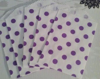 White with purple pokadot bags itty bitty bags 10 bags flat bags