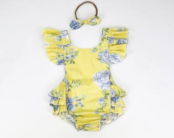 Baby Romper, Baby Romper and Headband, Yellow Floral Baby Romper set, Cotton Baby Romper, Tea Party Romper Outfit, Baby Shower Gift, 2248