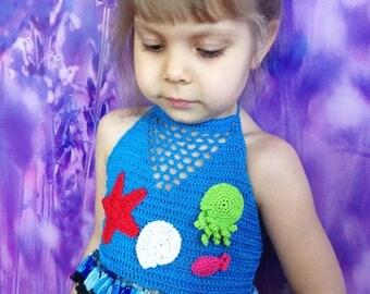 Starfish octopus shell crochet top/ Sea crochet baby toddler top/ Crochet bikini top/ Honolulu/ Crochet cover up toddler/ Beach cover up