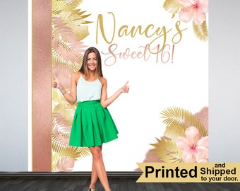 Tropical Sweet 16 Photo Backdrop, Sweet 16th Photo Backdrop- Birthday Photo Booth Backdrop, Personalized Photo Backdrop, Printed Backdrop
