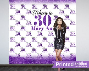 Cheers to 30 Personalized Photo Backdrop -Purple Photo Backdrop- 30th Birthday Photo Backdrop - Printed Photo Booth Backdrop, Vinyl Backdrop