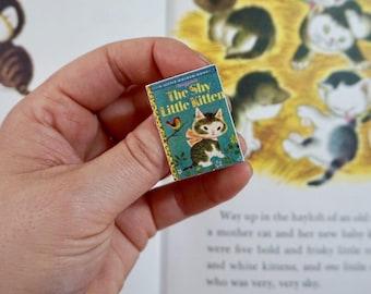 Shy Little Kitten (blue) - LITTLE GOLDEN BOOK - Brooch, Disneybound, Miniature, Flare