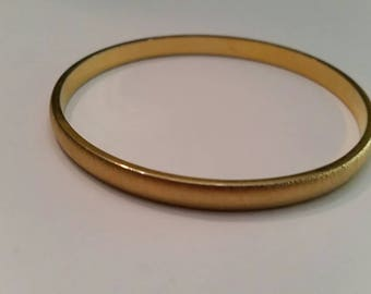 Vintage Monet Gold Bracelet Brushed Bangle Costume