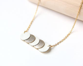 KEY NECKLACE. Platinum leather white and golden coins