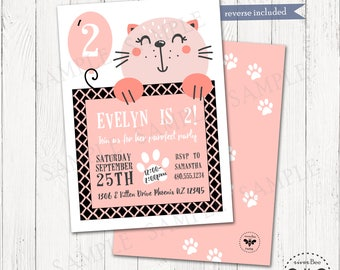 Smiling Cat Birthday Party Invitation Printable, Cat Birthday Invite, Digital Purrfect Pawty Invitation, Cat Party, Online Invitations