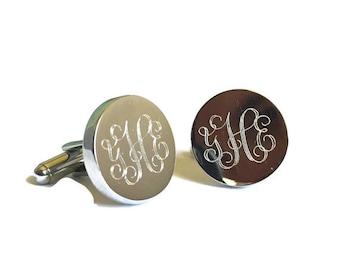ON SALE Sterling silver cufflinks, engraved cuff links, round cufflinks