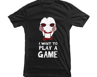 Jigsaw Horror Movie T-shirt for Halloween Party - scary Tee - high quality print and t shirt - 12370-BLK