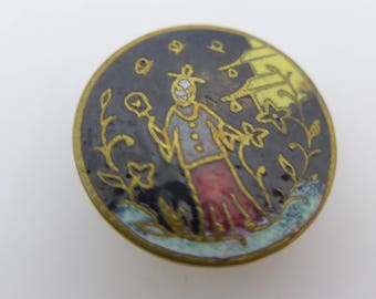 Antique Vintage Enamel Oriental Japanese Stud Bachelor Button
