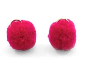 Pompom pendant, pom Poms, Pom Pons-5 PCs.-Ø 15 mm-Color selectable (color: wine red)