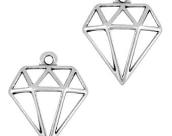 DQ Metal Pendant diamond-2 pieces-18 x 16 mm-Zamak-color selectable (colour: silver)