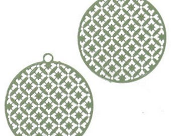 Bohemian pendant with eyelet, round shape-3 pcs.-22 x 20 mm-Color selectable (color: Army green)