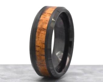 Unique Mens Wedding Band Wood Hawaiian Koa Inlay Tungsten Ring Custom Engraved