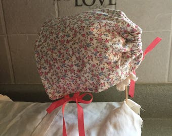 Cream & Small Pastrl Flowers Baby Bonnet