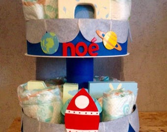 "2 story ""in space"" diaper cake"