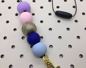 Pastel, Royal Blue and Gold Clay Lanyard Necklace