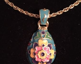 Joan Rivers Enameled Panslovic Floral Egg Pendant / Necklace