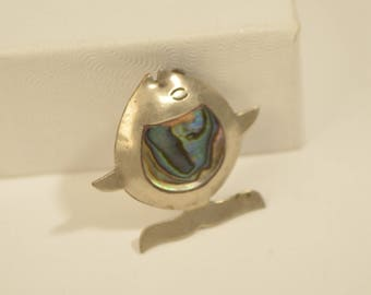 Vintage Mexico Taxco Sterling Silver 925 Abalone Shell Angel Fish Pin Brooch Pin