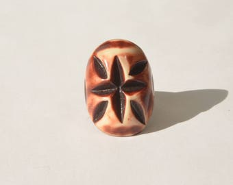 Vintage Handmade Starburst Shell Chunky Dome Ring Size 6