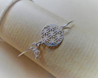 Bangle Bracelet in 925 sterling silver / rose and Swarovski Crystal