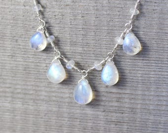 Rainbow Moonstone Bib Necklace in Sterling Silver, 14Kt Gold or Rose Gold Filled. Wire Wrapped Gemstone Necklace. Handmade Artisan Jewelry