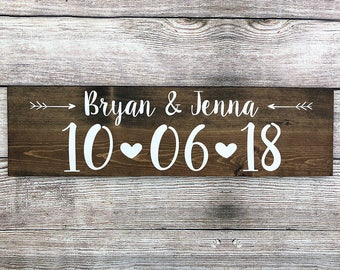 "Personalized Rustic Wood Wedding Sign ""Name and Date"" - Save the Date - Photo Prop, Wedding Decoration, Wedding Gift - 20""x5.5"""