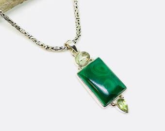 Malachite, peridot, green amethyst multistone pendant, necklaces set in sterling silver(92.5). Natural authentic stones.