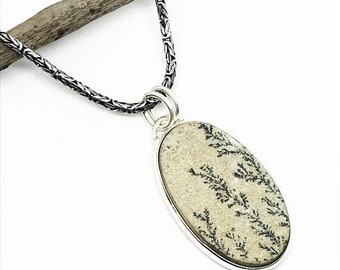 10% Dendrite fossil, tree agate pendant, necklaces set in sterling silver 925. Genuine natural stone. Length- 2.25inch long.